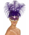 Paarse dames oogmasker veren
